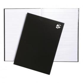 5 Star Office Notebook Casebound 75gsm Ruled 160pp A4 Black Pack of 5