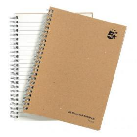 5 Star Eco Notebook Wirebound 80gsm Ruled Recycled 160pp A5 Buff Pack of 5