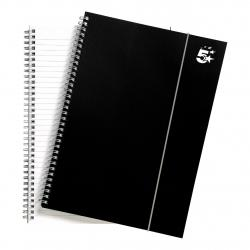 Cheap Stationery Supply of 5 Star Office Notebook Wirebound Polypropylene 80gsm Ruled 160pp A4 Black Pack of 6 Office Statationery