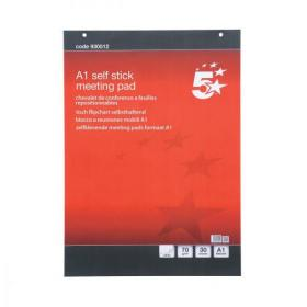5 Star Office Flipchart Pad Self-adhesive 30 Sheets A1 Pack of 2