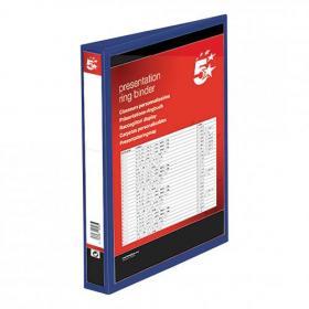 5 Star Office Presentation Ring Binder Polypropylene 4 D-Ring 25mm Size A4 Blue Pack of 10