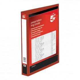 5 Star Office Presentation Ring Binder Polypropylene 4 D-Ring 25mm Size A4 Red Pack of 10