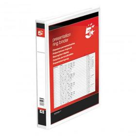 5 Star Office Presentation Ring Binder Polypropylene 4 D-Ring 38mm Size A4 White Pack of 10