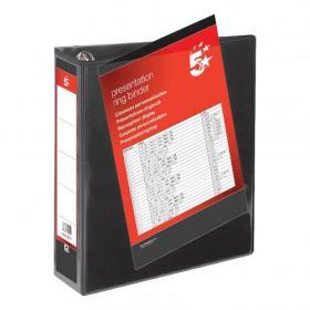 5 Star Office Presentation Ring Binder Polypropylene 4 D-Ring 50mm Size A4 Black Pack of 10