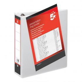 5 Star Office Presentation Ring Binder Polypropylene 4 D-Ring 50mm Size A4 White Pack of 10
