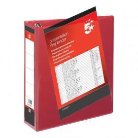 5 Star Office Presentation Ring Binder Polypropylene 4 D-Ring 50mm Size A4 Red Pack of 10