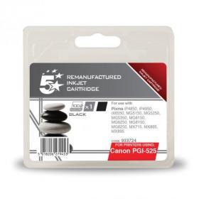 5 Star Office Remanufactured Inkjet Cartridge Page Life 341pp 19ml Black Canon PGI-525PGBK Alternative