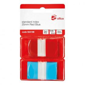 5 Star Office Index Flags 50 per Pack 25mm Red and Blue Pack of 2