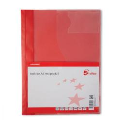 Cheap Stationery Supply of 5 Star Office Document Folder Task File Semi-rigid Clear Pocket Front Cover A4 Red Pack of 5 Office Statationery