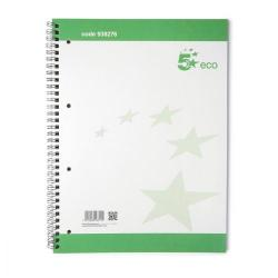 Cheap Stationery Supply of 5 Star Eco Spiral Pad 70gsm Ruled Margin Perforated Punched 4 Holes 100pp A4+ Pack of 10 Office Statationery
