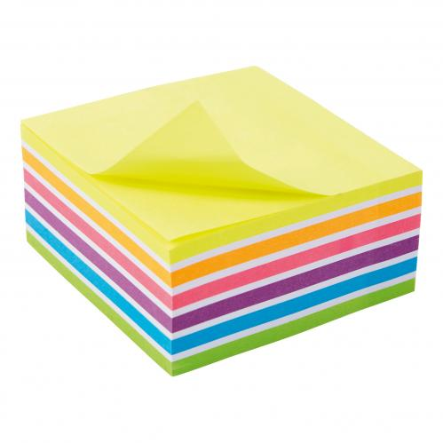 5 Star Re-Move Sticky Notes Rainbow Cube 76x76mm 6 Bright Colours 400 Sheets