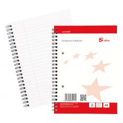 Cheap Stationery Supply of 5 Star Office Notebook Wirebound 70gsm Ruled with Margin Perf Punched 2 Holes 100pp A5+ Red Pack of 10 Office Statationery