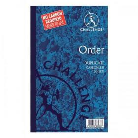 Challenge Duplicate Book Carbonless Order Book 100 Sets 210x130mm Ref 100080400 Pack of 5