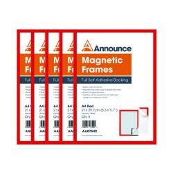 Cheap Stationery Supply of Announce Magnetic Frames A4 Red (Pack of 5) AA07542 Office Statationery