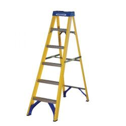 Cheap Stationery Supply of Abru Fibreglass Swingback Step Ladder 6 Tread Yellow 7160618 Office Statationery