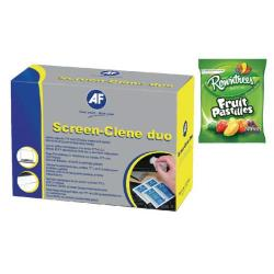 Cheap Stationery Supply of AF Screen-Clene Anti-Static Screen Wipes FOC Fruit Pastilles 160g AFI838855 Office Statationery