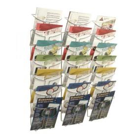 Alba Wall Mounted 21 Pocket Literature Holder A4 Chrome DDFIL21M
