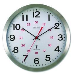 Cheap Stationery Supply of Acctim Century 24 Hour Radio Controlled Clock Aluminium 74457 Office Statationery