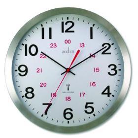 Acctim Century 24 Hour Radio Controlled Clock Aluminium 74457