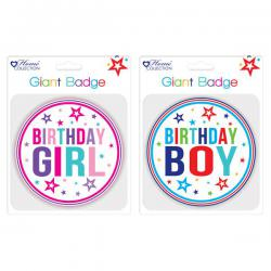 Cheap Stationery Supply of Giftmaker Giant Girl and Boy Birthday Badge (Pack of 12) GBAD Office Statationery