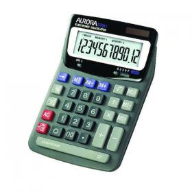 Aurora Grey/Black 12-Digit Desk Calculator (Dual power, solar powered with battery back up) DT85V