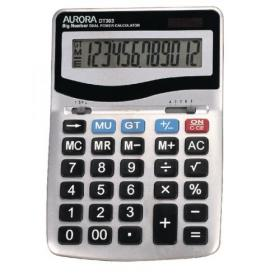 Aurora Grey/Black 12-Digit Desk Calculator (Dual power, solar powered with battery back up) DT303