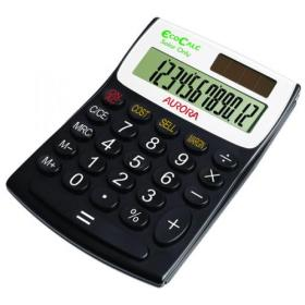 Aurora Black /White 12-Digit Semi-Desk Calculator EC404