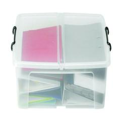 Cheap Stationery Supply of Strata 50L Smart Box with Lid Clear HW675 Office Statationery