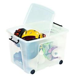 Cheap Stationery Supply of Strata Clear Smart Wheeled Box 75 Litre (Snap close, folding lid for security) HW676-CLR Office Statationery