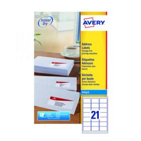 Avery Inkjet Address Labels 21 Per Sheet White (Pack of 525) J8160-25