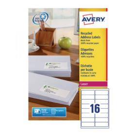 Avery Laser Labels Recycled 16 Per Sheet Wht (Pack of 1600) LR7162-100