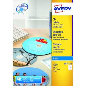 Avery Inkjet CD Labels Full Face 2 Per Sheet Wht (Pack of 50) J8676-25
