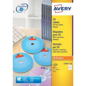 Avery Laser CD/DVD Full Face Label 2 Per Sht Wht (Pack of 50) L7676-25