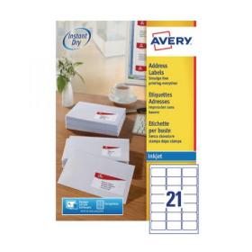 Avery Inkj Label 63.5x38.1mm 21 Per Sheet Wht (Pack of 2100) J8160-100