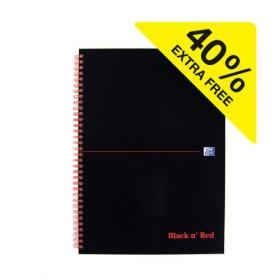 Black n Red Notebook Wirebound 90gsm Ruled 140pp A4 Glossy Black Ref 400115985 Pack of 5