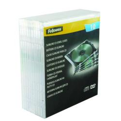 Cheap Stationery Supply of Fellowes Slimline CD Jewel Case Clear (Pack of 10) 9833801 Office Statationery