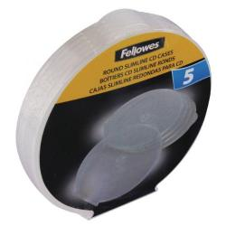 Cheap Stationery Supply of Fellowes Round Slimline CD Case Pack of 5 Clear 9834201 Office Statationery
