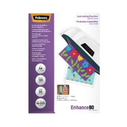 Cheap Stationery Supply of Fellowes A4 Self Adhesive Enhance Laminating Pouches(Pack of 100)53022 Office Statationery