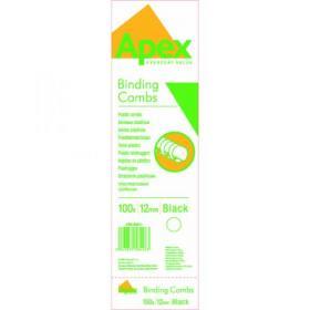 Fellowes Apex Plastic Binding Combs 12mm Black (Pack of 100) 6201101