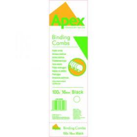 Fellowes Apex Plastic Binding Combs 16mm Black (Pack of 100) 6202301
