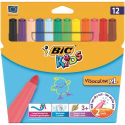 Cheap Stationery Supply of Bic Kids Visa XL Felt Tip Pens Assorted (Pack of 12) 829007 Office Statationery