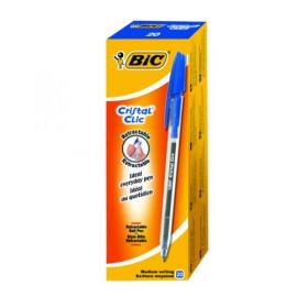 Bic Cristal Clic Ballpoint Pen Medium Blue (Pack of 20) 850733