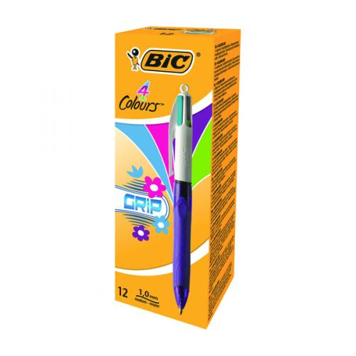 0.4mm 3 pa Bic 4-Colour Retractable Ballpoint Pens Bic 4Colours Grip Fashion