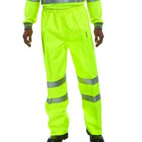 Hi-Viz Trousers EN ISO20471 Yellow Size Large (100% polyester with breathable PU coating) BITSYL