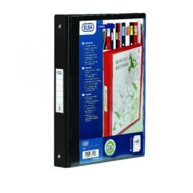 Elba Vision 2 Ring Binder Plastic Coated Board A4 Black 100080891