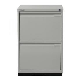 Bisley 2 Drawer Filing Cabinet Desk Height Flush Fronted Lockable Goose Grey BY00079