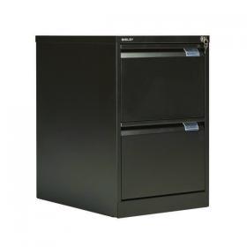Bisley 2 Drawer Filing Cabinet Lockable 470x622x711mm Black BS2E BLACK