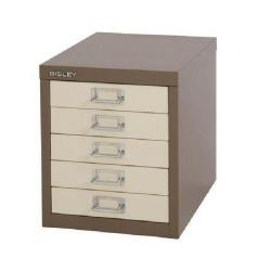 Cheap Stationery Supply of Bisley Non-Locking Multi-Drawer Cabinet 5 Drawer Coffee Cream BY42266 Office Statationery