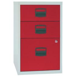 Cheap Stationery Supply of Bisley 3 Drawer A4 Home Filer Grey/Red (Dimensions: W413 x D400 x H672mm) PFA3-8794 Office Statationery