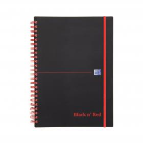 Black n Red Notebook Wirebound PP 90gsm Ruled and Perforated 140pp A5 Ref 100080140 Pack of 5